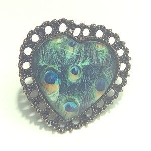 Jewelry - Fashion Ring Large Peacock Heart Size 7+